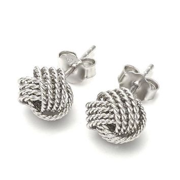 Sterling Silver Stud Earring, Love Knot Design, Rhodium Tone