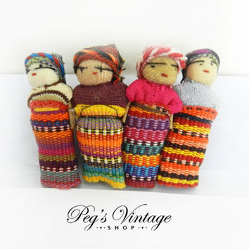 Vintage Ethnic Mexican Cloth Worry Doll Hair Barrette, Vintage Colorful Handmade Hair Accessories
