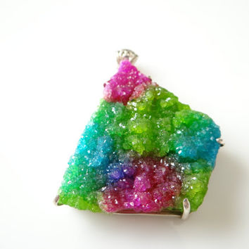 ONE--Rainbow Tie Dye Druzy sterling silver large Pendant