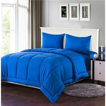 Tache 3-4 Piece Solid Deep Blue Box Stitched Comforter Set (3-4PCOM-BOXES-Blue)