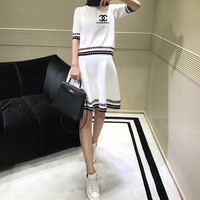 """Chanel"" Women Casual Fashion Letter Multicolor Stripe Middle Sleeve Short Skirt Set Two-Piece"