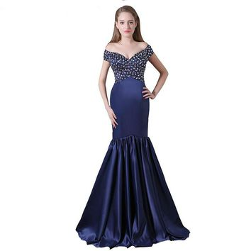 Blue Satin Mermaid Evening Dresses Luxury Crystal Beaded Party Dress Deep V Neck Off Shoulder Prom Dresses Long