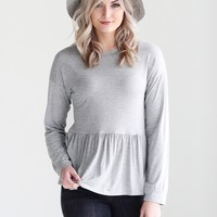 Heather Gray DLMN Long Sleeve Peplum Top