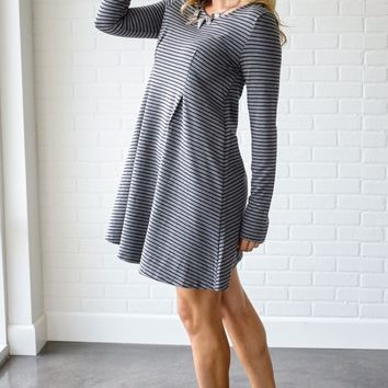 Charcoal-Black-Striped-Long-Sleeve-Dress