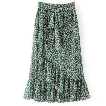 boho mermaid floral green women skirt sashes maxi long skirt ruffles saia longa bodycon skirts womens jupe longue faldas mujer