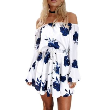 Womens Spring Sexy Off Shoulder Mini Swing Dress Boho Floral Printed Long Flare Sleeves Drawstring Empire Waist Pleated Beach