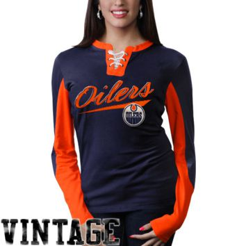 Old Time Hockey Edmonton Oilers Ladies Vintage Adina Lace-Up Long Sleeve T-Shirt - Navy Blue/Orange