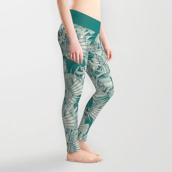 fish mirage teal Leggings by Sharon Turner | Society6