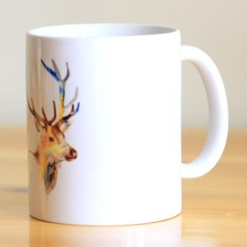 Watercolor Deer Ceramic Mug Coffee Cup Milk Mug With Handgrip 320ml Home Decoration 11oz