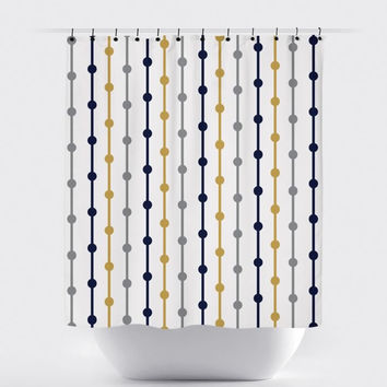 Cream/Mustard/Navy Lined Shower Curtain
