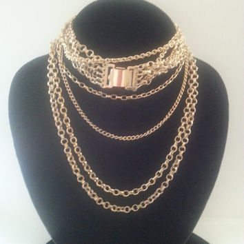 Vintage Napier Necklace 1960's Multi Strand 5 Chain High End Collectible Jewelry Retro  Mad Men Mod Statement Runway Jewelry