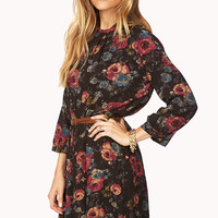 Dark Rose Drop Waist Dress w/ Belt