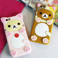 Cute Rilakkuma Relax Bear Paw Silicone Soft Case Back Cover for iPhone 6 6S Plus