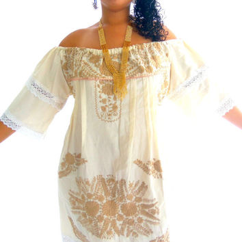 Besos de sol vintage Mexican Embroidered Pure Cotton Maxi Dress
