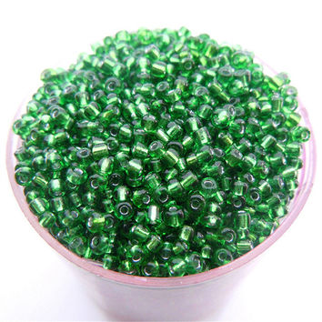 Free Shipping Sale Green Silver Color Shining 1000Pcs 2mm Czech Glass Seed Spacer Beads Jewelry Making DIY Pick 46 Colors