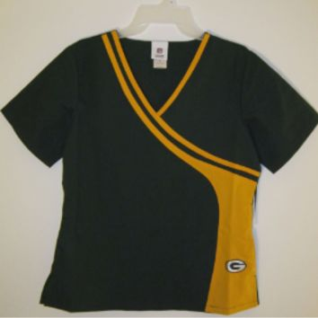 Green Bay Packers New Mock Wrap Scrub Top and NFL medical scrubs