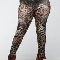 Thick brown leopard print plus size leggings with high waist