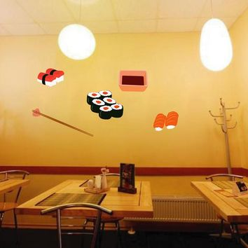 cik889 Full Color Wall decal Japanese food is sushi bar Japanese restaurant
