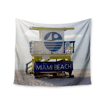"Philip Brown ""Miami Beach Lifeguard Stand"" Blue Multicolor Wall Tapestry"