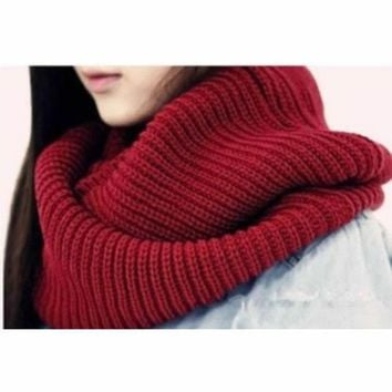 ONETOW New Arrive Men Women's Nice Winter Warm Infinity 2Circle Cable Knit Cowl Neck Long Scarf Shawl -Y107