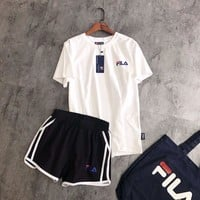 """FILA"" Print Short sleeve Top Shorts Sweatpants Set Two-Piece Sportswear"