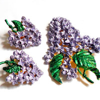 Lilac Flower Cluster Brooch and Earrings Set Demi Parure Vintage Enamel Purple Green Clip On Spring Floral Design