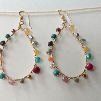 Gold Hoops Earrings Wire Wrapped with Czech Glass, Garnet, Purple Jade, Carnelian, Turquoise Magnesite