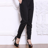 Black Elastic Waist Pants with Pocket