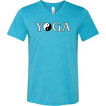 Yoga Clothing For You Yin Yang Yoga Text Triblend V-neck Yoga Tee Shirt