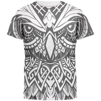 DCCKJY1 Trippy Tribal Owl Mens Soft V-Neck T Shirt
