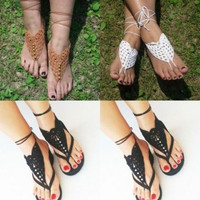 Crochet Barefoot Sandals Brides Shoes Yoga Beach Wear Anklet Hippy boho chic