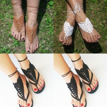 Crochet Barefoot Sandals,Brides Shoes,Yoga,Beach Wear,Anklet,Hippy boho chic = 1930044292