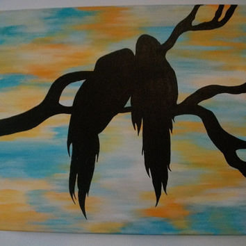 Birds silhouettes canvas acrylic painting 16''x20'' les amoureux the lovers