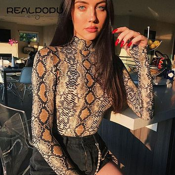 Realpopu snake skin Turtleneck Long Sleeve Bodysuit Sexy Bodycon Fashion Romper Womens Jumpsuit Overall Knitted Combinaison