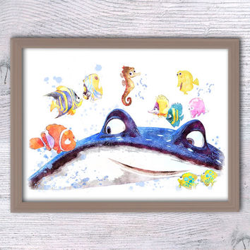 Finding Dory poster, Finding Nemo poster, Mr.Ray wall art, Disney art, Ocean print, Nautical print, Pixar, movie poster, Kid room decor V96