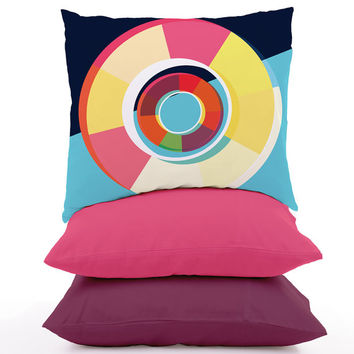 Geometric Cushion Cover Colourful Circle Pattern