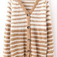 Coffee Striped Single Breasted V-neck Acrylic Cardigan