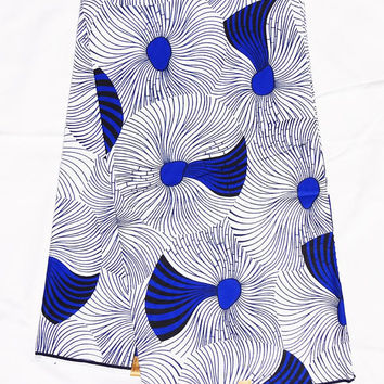 African fabric White blue African print Fabric, African fabric by the yard, Wax print, Ankara fabric, african dress fabric, english gold