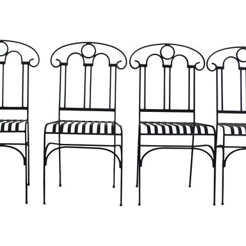 Arched Wrought Iron Patio Chairs, S/4