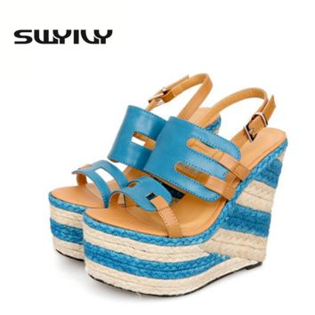 Open Toe Women Sandals 2017 Design Hollow Straw Wedge Platform Roman Women Shoes Small Size 32 Summer Shoes Sandalias Plataforma