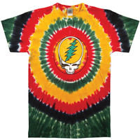Grateful Dead Men's  Rasta SYF Tie Dye T-shirt Multi