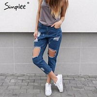 Simplee Casual hollow out blue denim jeans capris