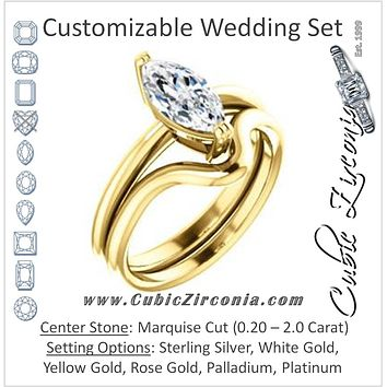 CZ Wedding Set, featuring The Venusia engagement ring (Customizable Marquise Cut Solitaire with Thin Band)