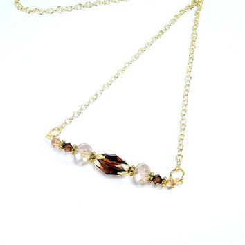 Crystal Jewelry Bar Necklace, Handmade Jewelry
