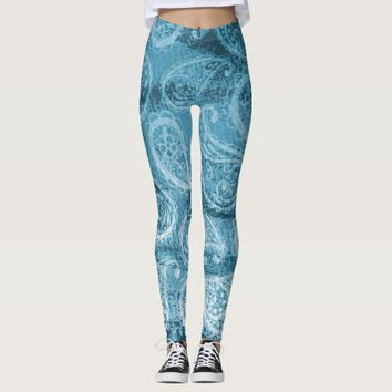 Blue Paisley Leggings