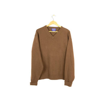 PENDLETON lambswool pullover sweater - copper brown - large