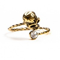 Brandy ♥ Melville |  Gold Skull and Gem Ring - Just In