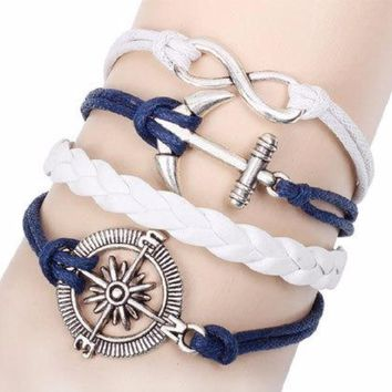 Multi 5 Layer Infinity, Anchor, Nautical Compass Charms Wrap Bracelet White/Navy Faux Leather/Suede