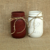 Painted mason Jars, Distressed painted mason jar, Pint mason jar, Hand painted mason jar, Rustic wedding vase, Rustic decor Mason jar Vase