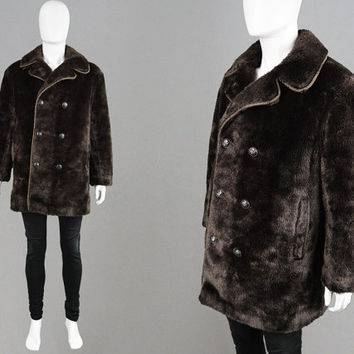 Vintage 60s 70s Mod Mens Faux Fur Coat Brown Fake Fur Dandy Winter Large XL Jacket Car Coat Hunting Jacket 1970s Fashion Astraman by Astraka
